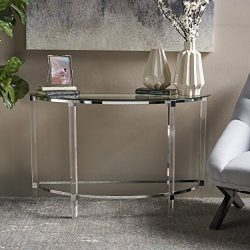 Christopher Knight Home 302314 Irma Modern Tempered Glass Console Table with Acrylic and Iron Ac ...