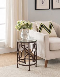 Brown Finish Metal with Glass Top Round Side End Table
