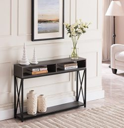 Grey Finish Top / Black Metal X-Design Frame 2-tier Sofa Console Table with Two Storage Compartments