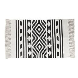 Cotton Printed Rug, Seavish Decorative Nordic Geometric Hand Woven Rag Rug Entryway Thin Throw M ...