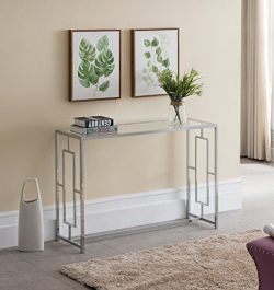 Modern Chrome Finish / Glass Top Console Sofa Table with Square Designs