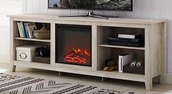 WE Furniture 70″ Wood Media TV Stand Console with Fireplace – White Oak