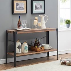 O&K Furniture Industrial Rustic 2-tier Occasional Console Sofa Table for Living Room & E ...