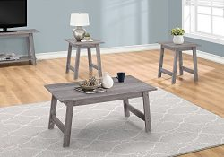 Monarch Specialties I 7932P Table 3PCS Set, Grey