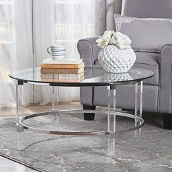 Christopher Knight Home 302313 Elbowed Modern Round Tempered Glass Coffee Table with Acrylic and ...