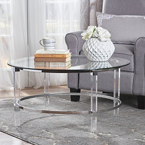 Aurelle Home Amanda Glass Top Rectangle Coffee Table: Christopher Knight Home 302313 Elbowed Modern Round