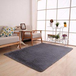 Dreamyth Fluffy Rugs Anti-Skid Shaggy Area Rug Dining Room Home Bedroom Carpet Floor Mat (Gray)