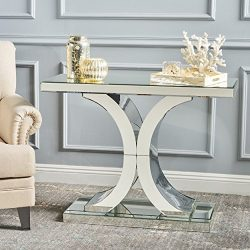 Christopher Knight Home 302083 Olivine Modern X Shaped Glass Finished Console Table, mirror