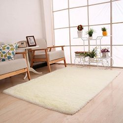 Dreamyth Fluffy Rugs Anti-Skid Shaggy Area Rug Dining Room Home Bedroom Carpet Floor Mat (White)