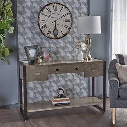 Christopher Knight Home 301832 Leya Acacia Wood Console Table, Metallic Grey/Rustic Metal