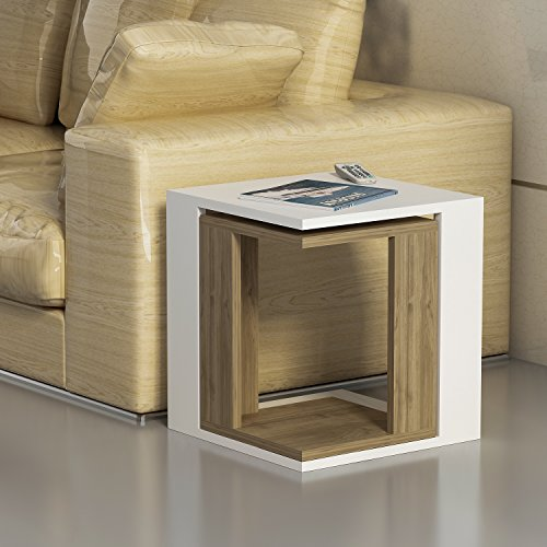Decorotika Cole 2 Piece Accent Sofa Table Set – Side End Table – White and Walnut Color