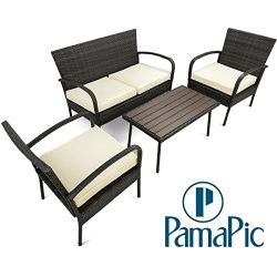 Pamapic Outdoor 4Piece Patio Furniture Sets 【PS Board Table】, Black PE Rattan Wicker Sofa and  ...
