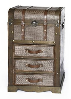 Vintiquewise QI003330L Decorative Wooden Storage Chest with 3 Drawers