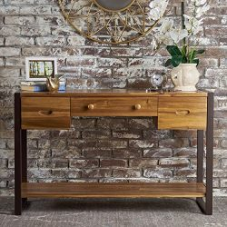 Christopher Knight Home 301831 Leya Console Table, Natural Stained + Rustic Metal