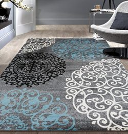 Contemporary Modern Floral Indoor Soft Area Rug 5'3″ x 7'3″ Gray