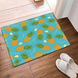 NYMB Fruit Yellow Pineapple On Blue Background Bath Rugs Non-Slip Floor Entryways Outdoor Indoor ...
