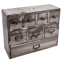 13-Inch Weathered Whitewashed Brown Wood Desktop Organizer, 8 Drawer Jewelry & Craft Supplie ...