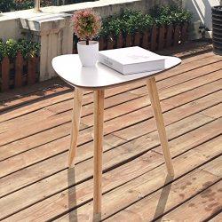 LAZYMOON Modern White Pine Wood Triangle Accent 3 Legged Living Room Sofa Side End Table Home Fu ...