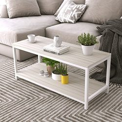 Soges Modern End Table 40″ Coffee Table TV Stand Side Table Sofa Table, White Maple TVST-Z ...