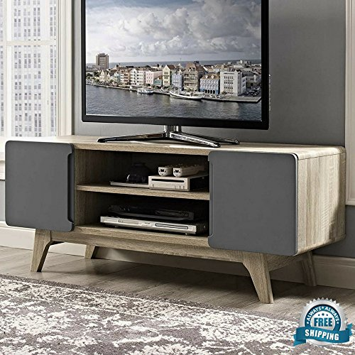 Retro TV Stand Media Console Organizer with Open Display Shelves & Hinged Doors Entertainmen ...