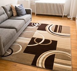 Echo Shapes & Circles Ivory / Beige Brown Modern Geometric Comfy Casual Hand Carved Area Rug ...