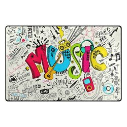 INGBAGS Super Soft Modern Music Area Rugs Living Room Carpet Bedroom Rug for Children Play Solid ...