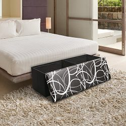 Otto & Ben 45″ Storage Ottoman with Memory Foam Seat, Folding Large Foot Rest Stools T ...