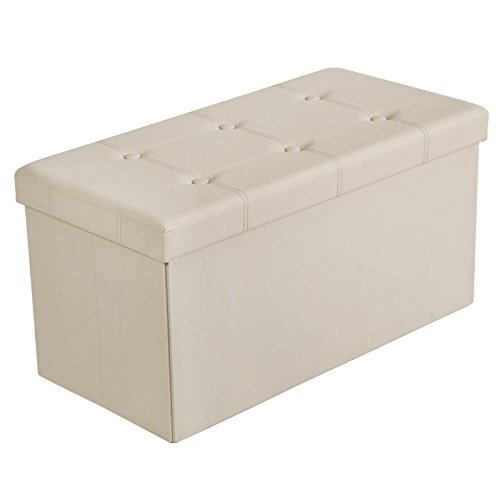 Ottomans Deacon Beige Upholstered Blanket Box: SONGMICS 30L Faux Leather Folding Storage Ottoman Bench