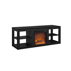 Ameriwood Home Parsons Electric Fireplace TV Stand for TVs up to 65″, Black
