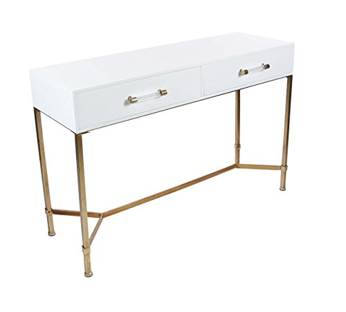 Deco 79 84284 Iron and Pine Wood Two-Drawer Console Table, 47″ x 31″, White/Gold