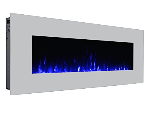 3G Plus 50″ Electric Fireplace Wall Mounted Heater Crystal Stone Flame Effect 3 Changeable ...