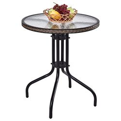 Tangkula 24″ Patio Table Garden Yard Outdoor Lawn Indoor Tempered Glass Top Steel Frame Co ...