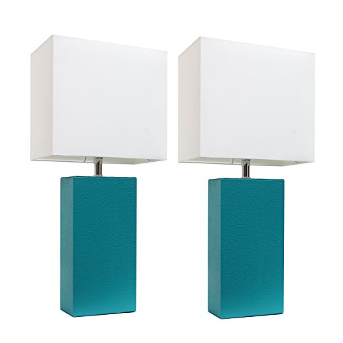 Elegant Designs LC2000-TEL-2PK 2 Pack Leather Lamps 2 Pack Modern Leather Table Lamps with White ...