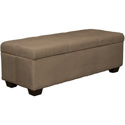 48″ x 19″ x 18″ high Tufted Padded Hinged Storage Ottoman Bench, Microfiber Su ...