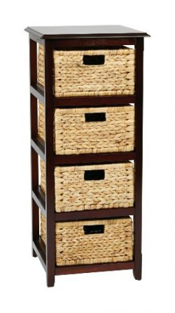 OSP Designs Office Star Seabrook 4-Tier Storage Unit with Natural Baskets, Espresso Finish