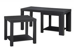 Ameriwood Home Holly Bay Coffee Table and End Table Set, Black