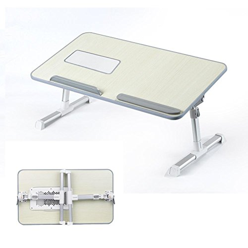 Hmlai Laptop Stand Tray Computer Foldable Table Height Adjustable Standing Small Desk Portable B ...
