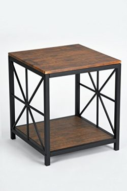 Dark Coffee Black Metal Frame Side End Table with Lower Shelf
