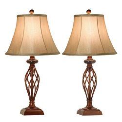 Table Lamps Set of 2 for Living Room or Bedroom, 27.5 in. High Royal Bronze Finish, Large Bedsid ...