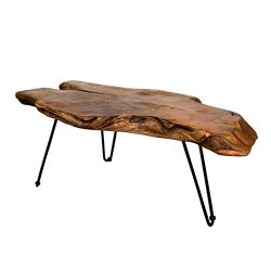 Natural Wood Edge Teak Coffee Cocktail Table with Clear Lacquer Finish