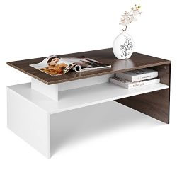 HOMFA Modern Console Table Coffee Table 2-tier Rectangular Storage Open Shelf Table for Living R ...