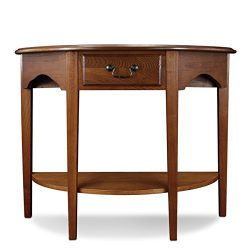 Leick Demilune Hall Console Table, Medium Oak