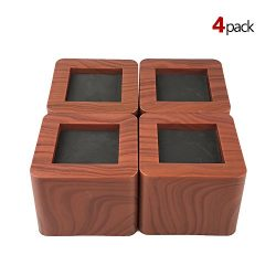 MIIX HOME Bed Risers 3 Inch | Heavy Duty Wood Color Furniture Riser | 4PCS | Dark Brown Sofa Ris ...