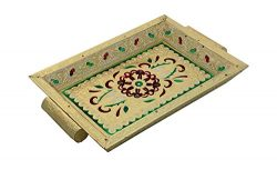 Khandekar (with device of K) Wooden Handmade Meenakari Design Serving Tray, Kitchen Serving Tray ...