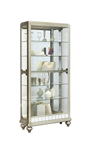 Pulaski P021568 Mirrored Metallic Side Entry Curio Cabinet 35.3″ x 13.3″ x 78.0″