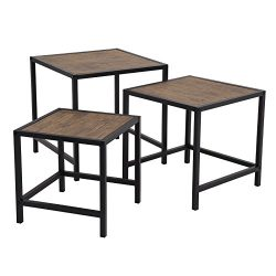 SONGMICS Nesting Coffee Table Set of 3, Industrial End Table Set, Modern Decor for Living Room,  ...