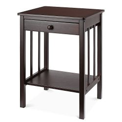 HOMFA Bamboo Night Stand End Table with Drawer and Storage Shelf Multipurpose Home Furniture, Da ...