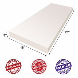 Upholstery Foam Cushion Sheet- 3″x18″x72″-Regular Support Density-Premium Luxu ...