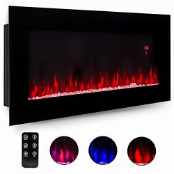 Best Choice Products 50″ Electric Wall Mounted Fireplace Heater Smokeless Ventless Adjusta ...