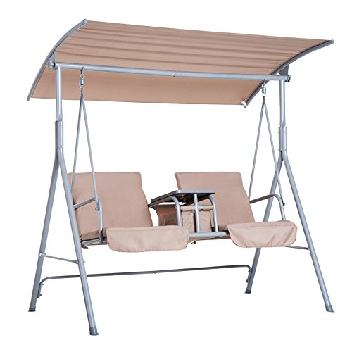 Outsunny 2 Person Covered Patio Swing w/Pivot Table & Storage Console – Beige